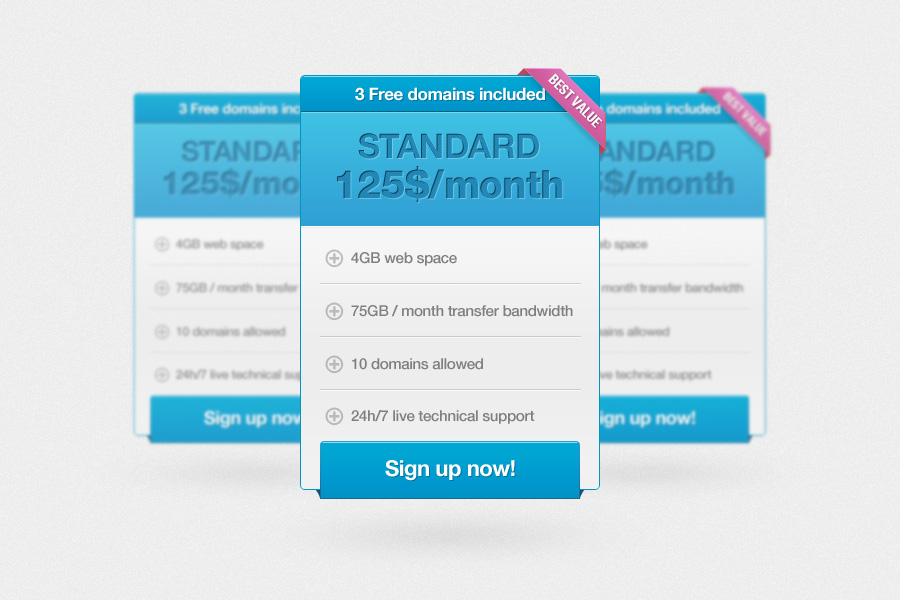 Pricing Table UI Element PSD Web 2.0 ~bestuipsd