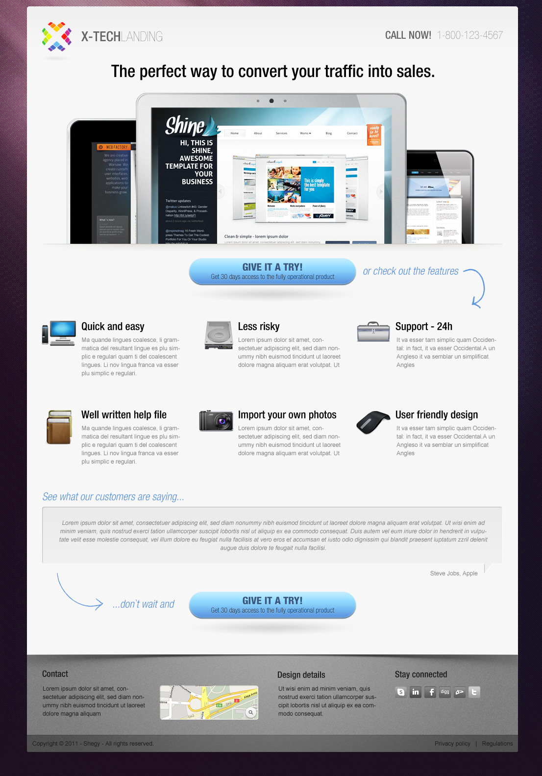 X-Tech Landing Page (.psd) | Free Design Resources for All