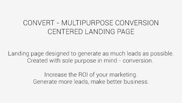 Convert - Multipurpose CCD Landing Page